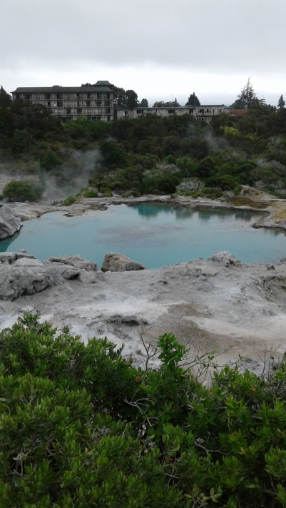 Blue lake at Te Puia in the geothermal valley
