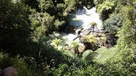 Okere Falls-water rafting and remnant of original hydro-electric scheme