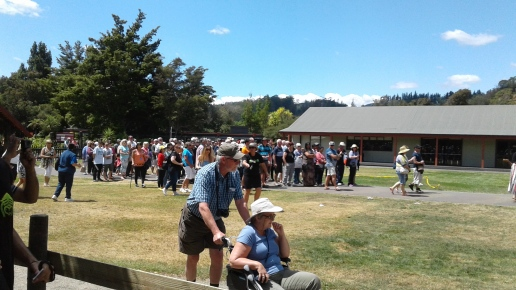 All visitors on the marae waiting to enter the tribal meeting house