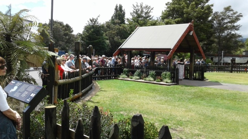 Waiting to be welcomed on to the marae grounds of the meeting house