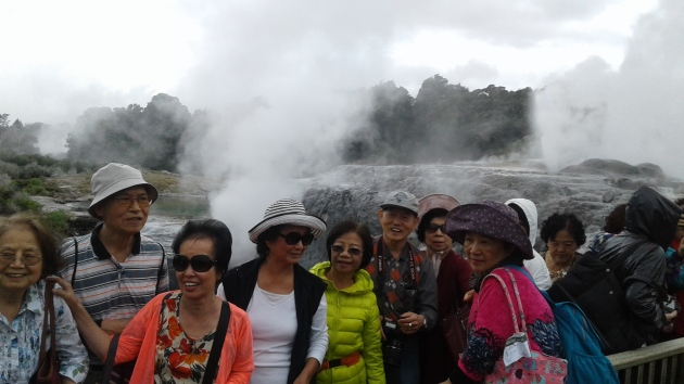 Visitors on one of John's Tours in the geyser valley