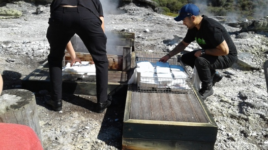 Putting Maori hangi meals into the cooking box